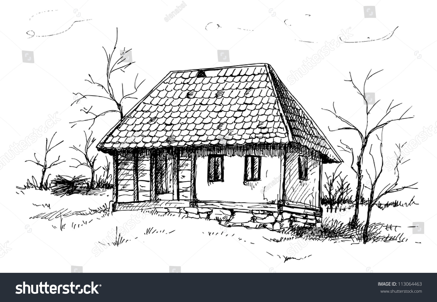Old house sketch stock vector illustration 113064463 shutterstock