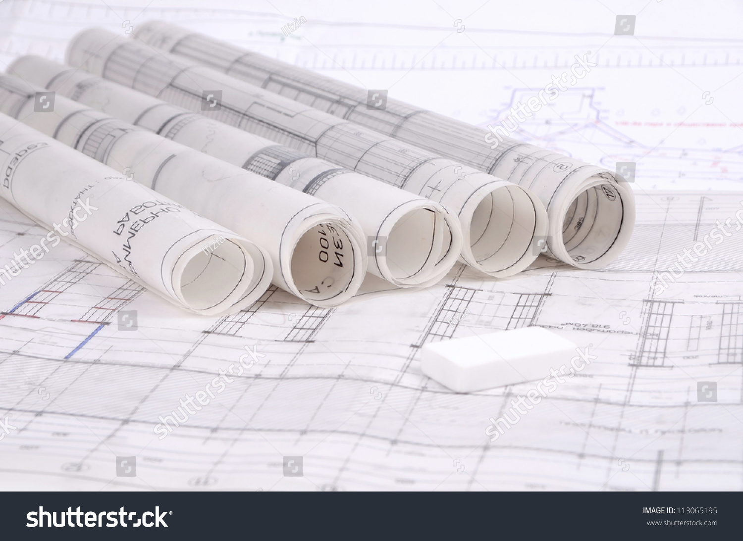 Architectural Plans Old Paper Tracing Stock Photo