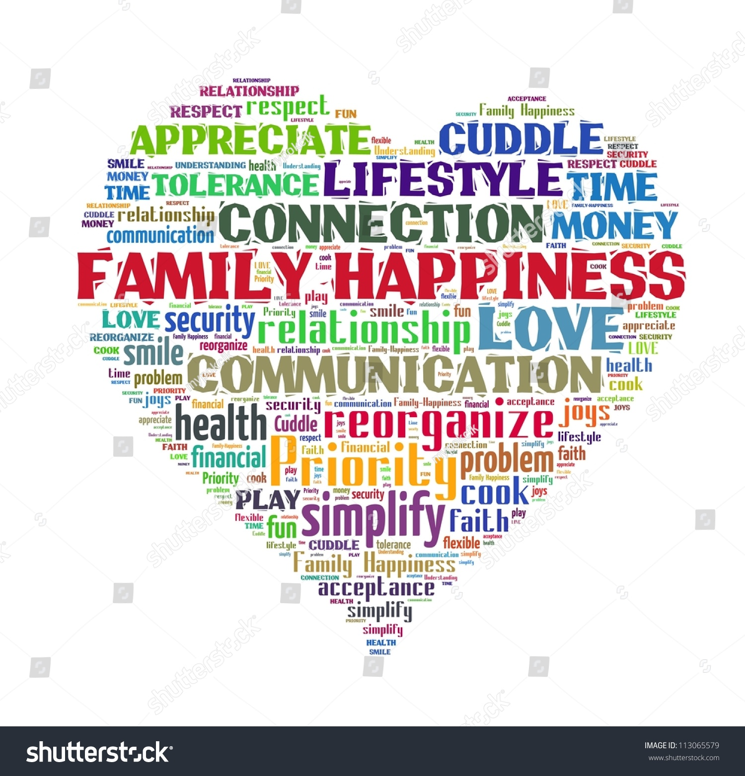 A Word Of Happiness: Family Happiness Word Collage Stock Illustration 113065579