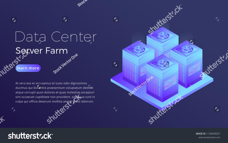 Data Center Datacenter Server Farm Isometric Stock Vector