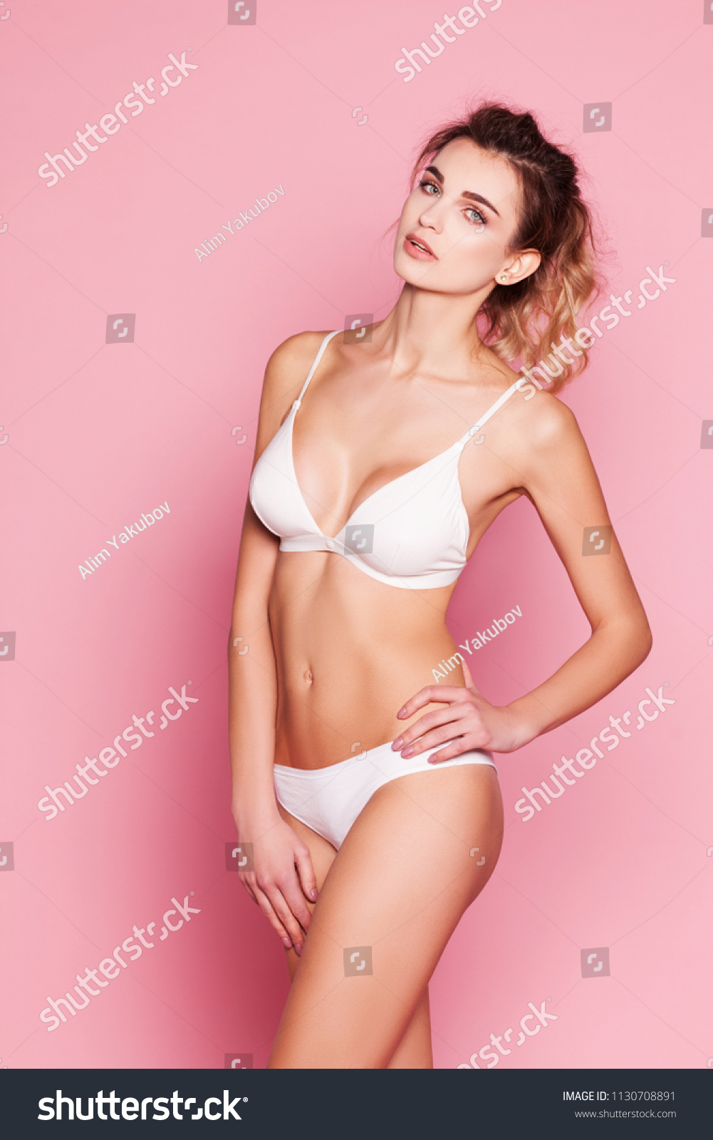 7e348ad0277 Beautiful Woman White Lingerie On Pink Stock Photo (Edit Now ...