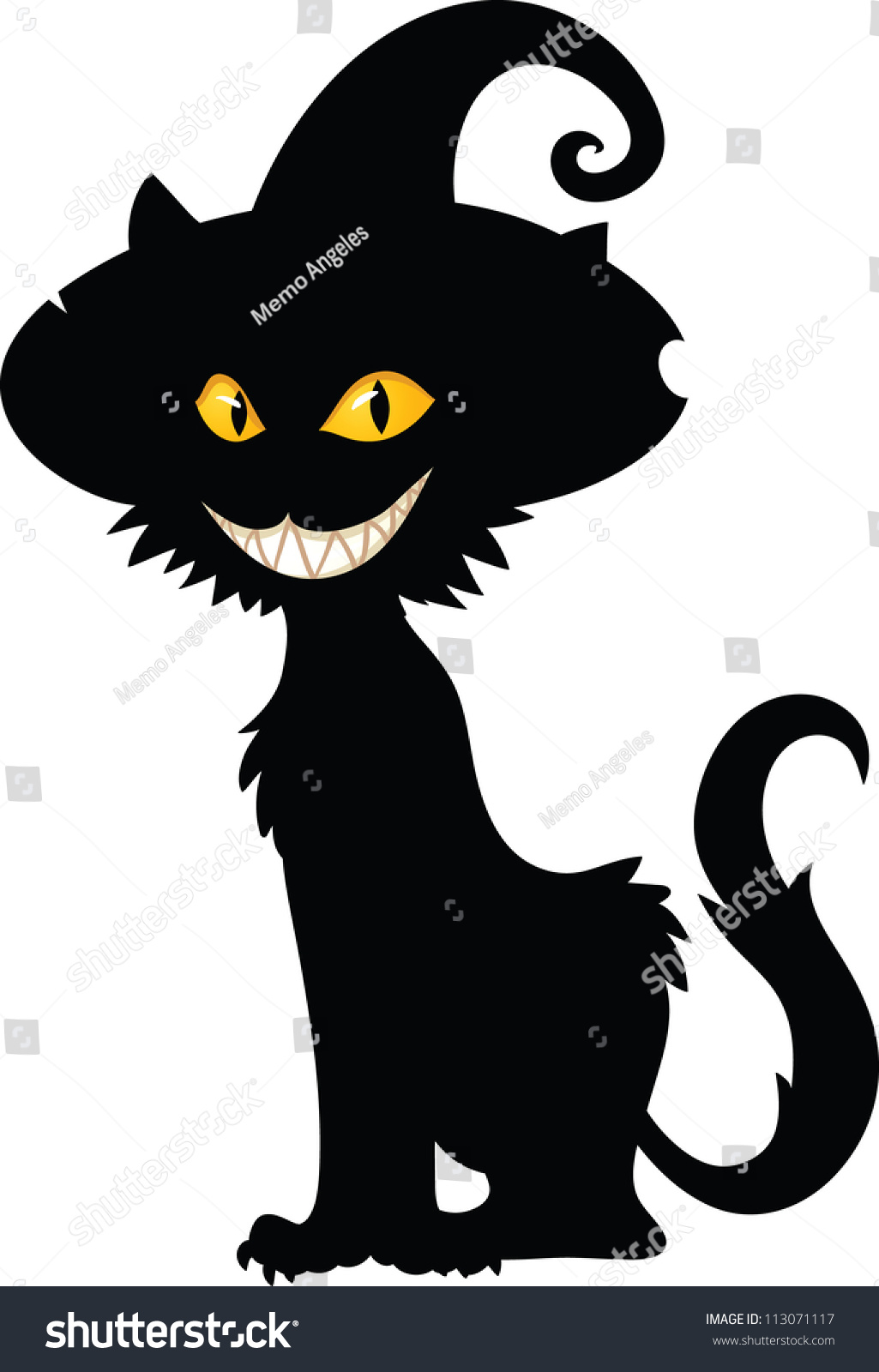 halloween witch cat silhouette vector illustration with simple gradients all in a single layer - Black Cat Silhouette Halloween