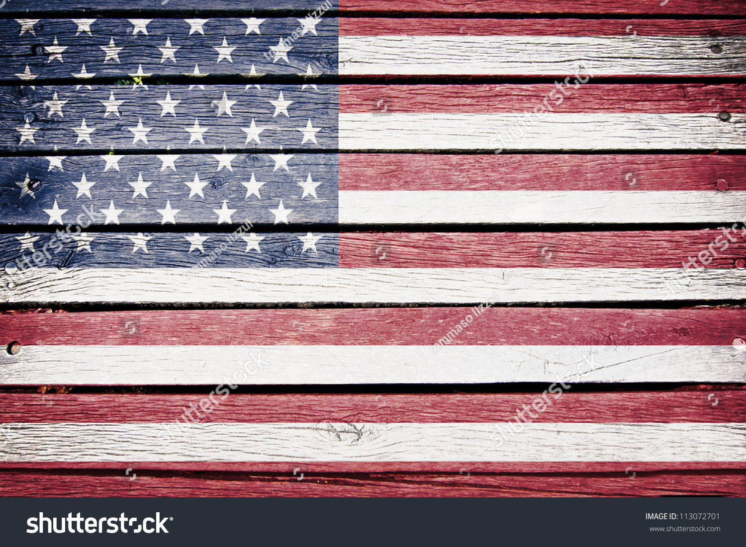 Usa American Flag Painted On Old Stock Photo 113072701