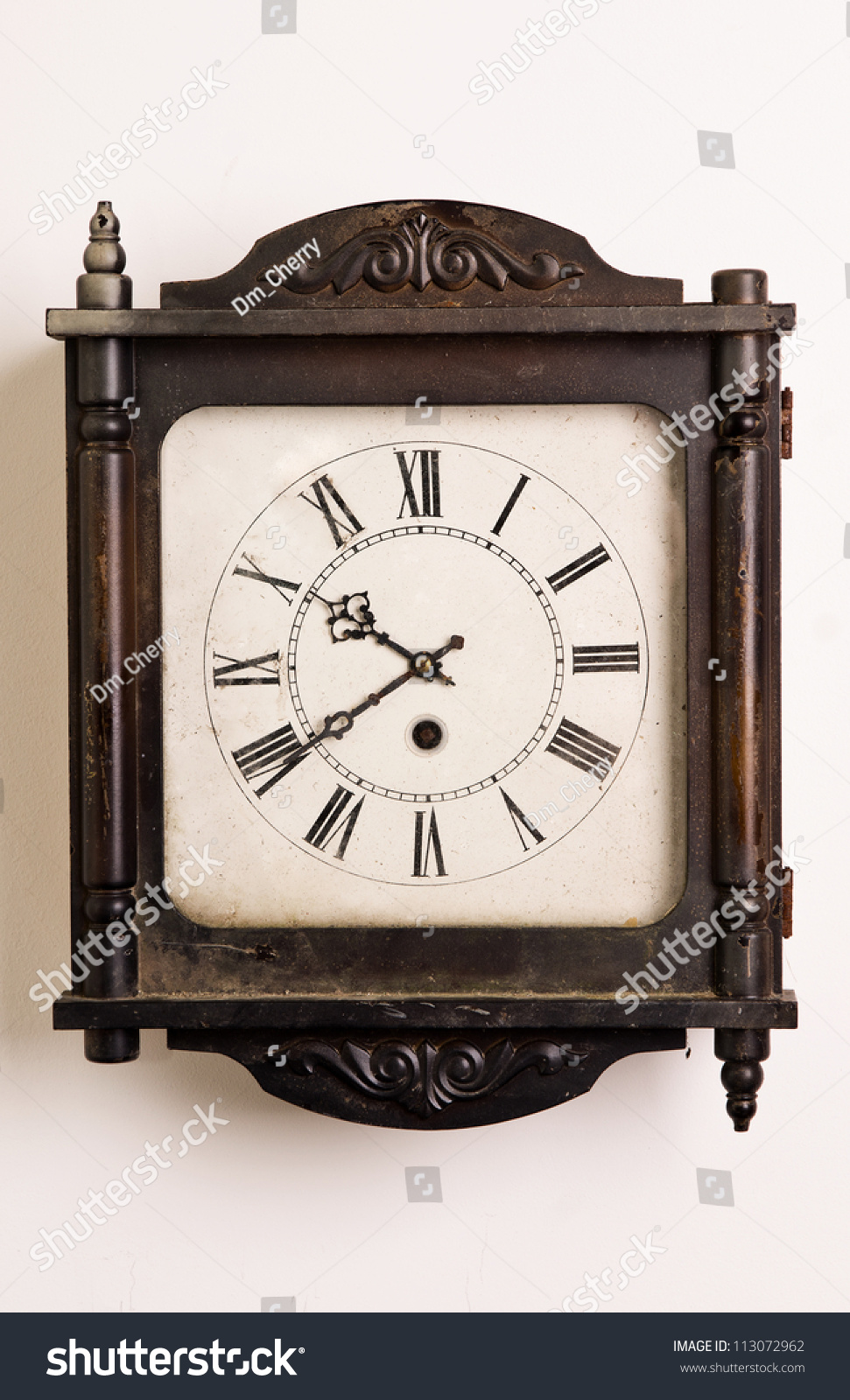 Old wooden grandfather clock hanging on a wall stock photo 113072962 shutterstock - Wall hanging grandfather clock ...