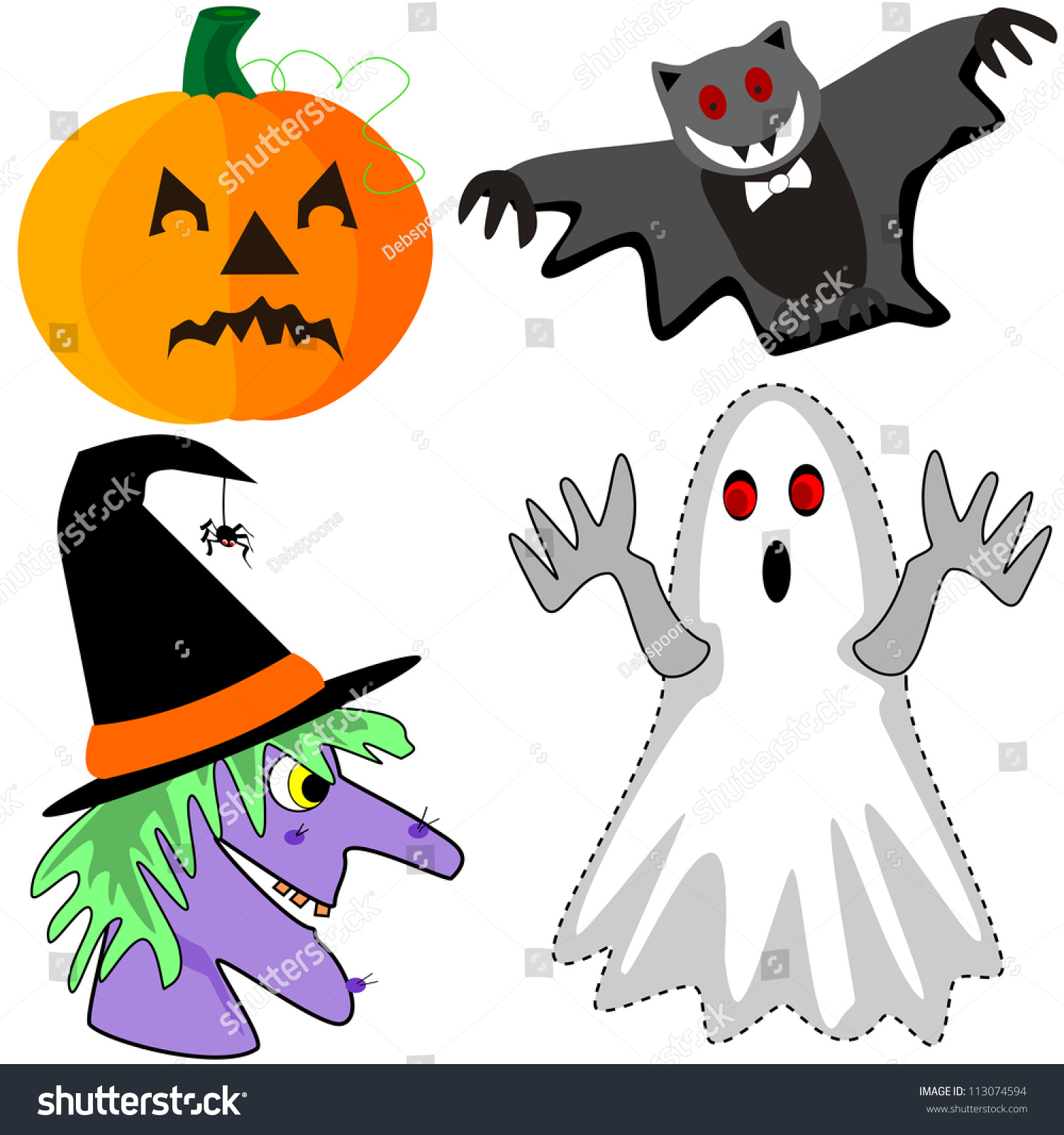 pumpkin bat witch ghost cartoon halloween stock illustration