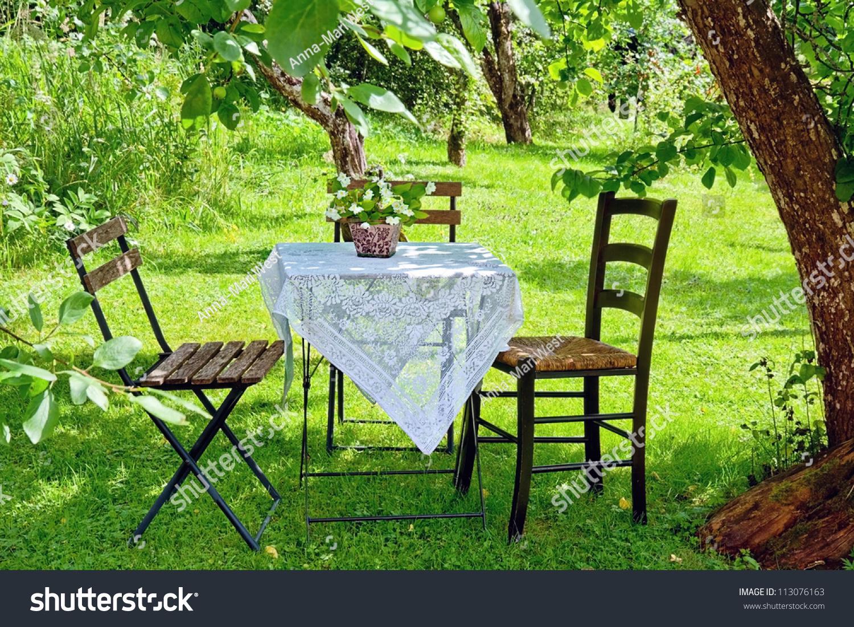 idyllic setting small coffee table wooden stock photo 113076163