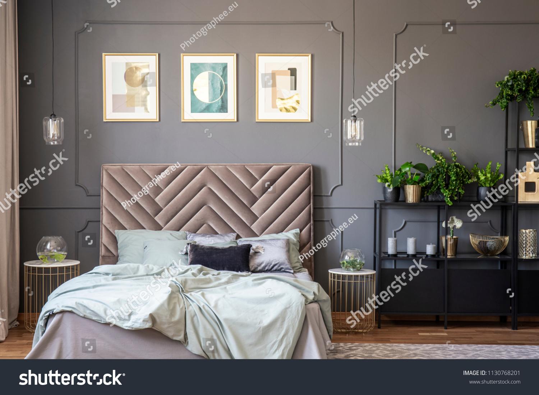 Dark Grey Bedroom Interior Wainscoting On Stock Photo Edit Now 1130768201