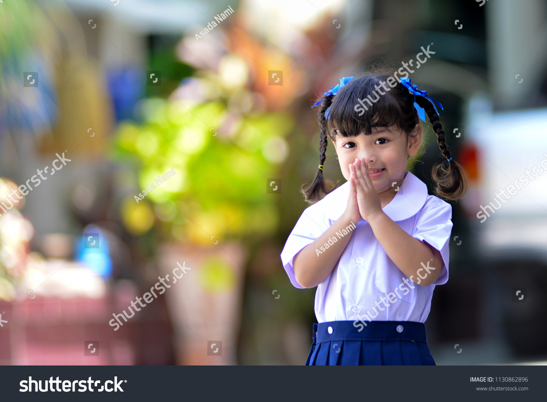 Cute Asian School Girl Action Thai Stock Photo Edit Now 1130862896