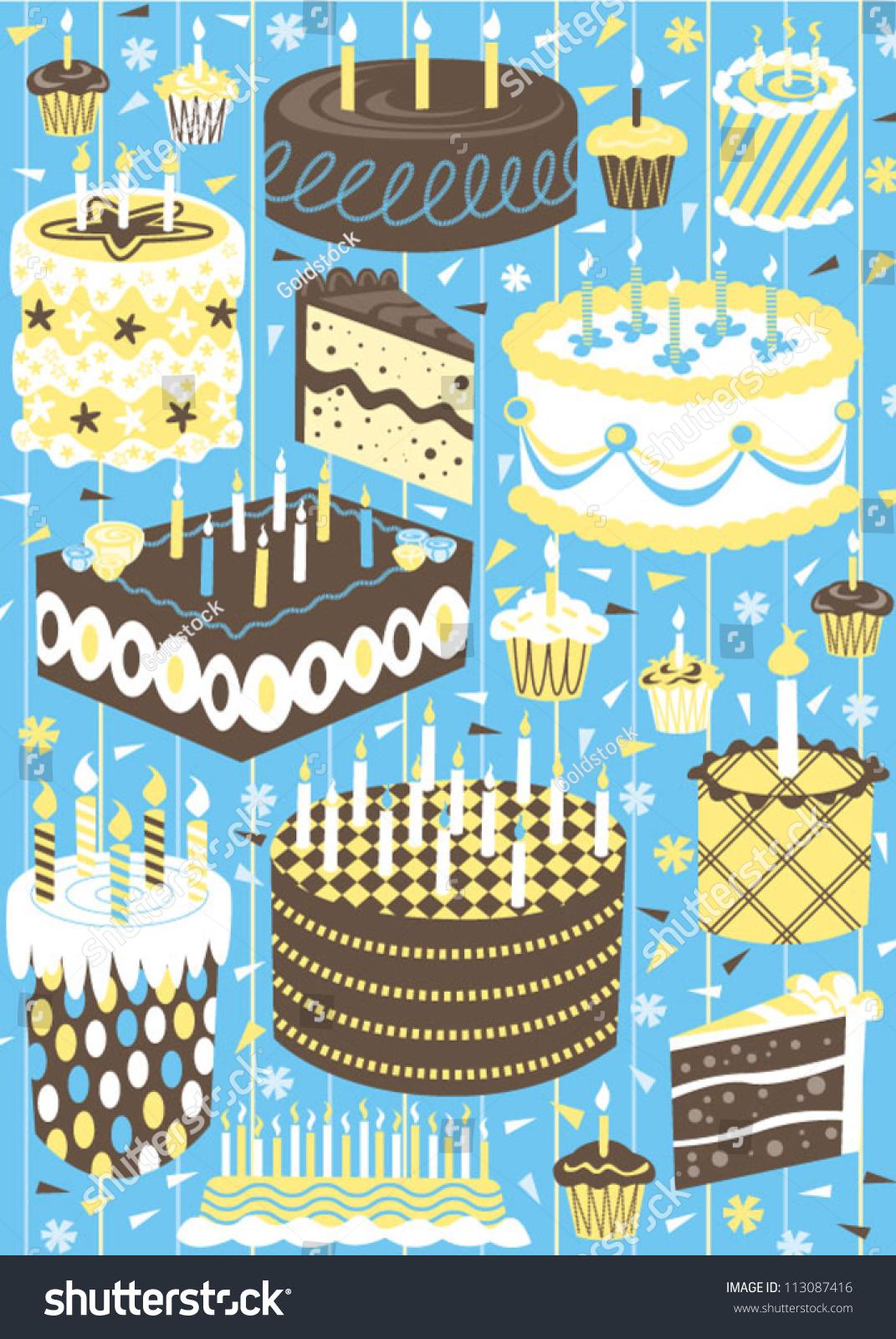 Vintage Modern Birthday Cakes Stock Vector Illustration
