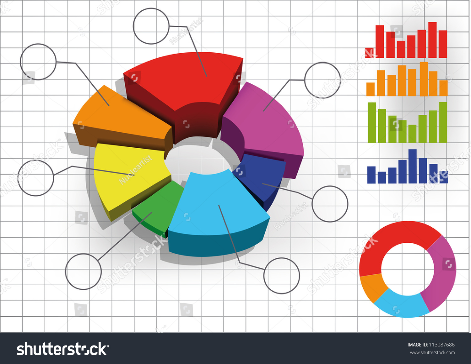 Color 3d pie chart graph vector stock vector 113087686 shutterstock color 3d pie chart graph vector illustration nvjuhfo Choice Image