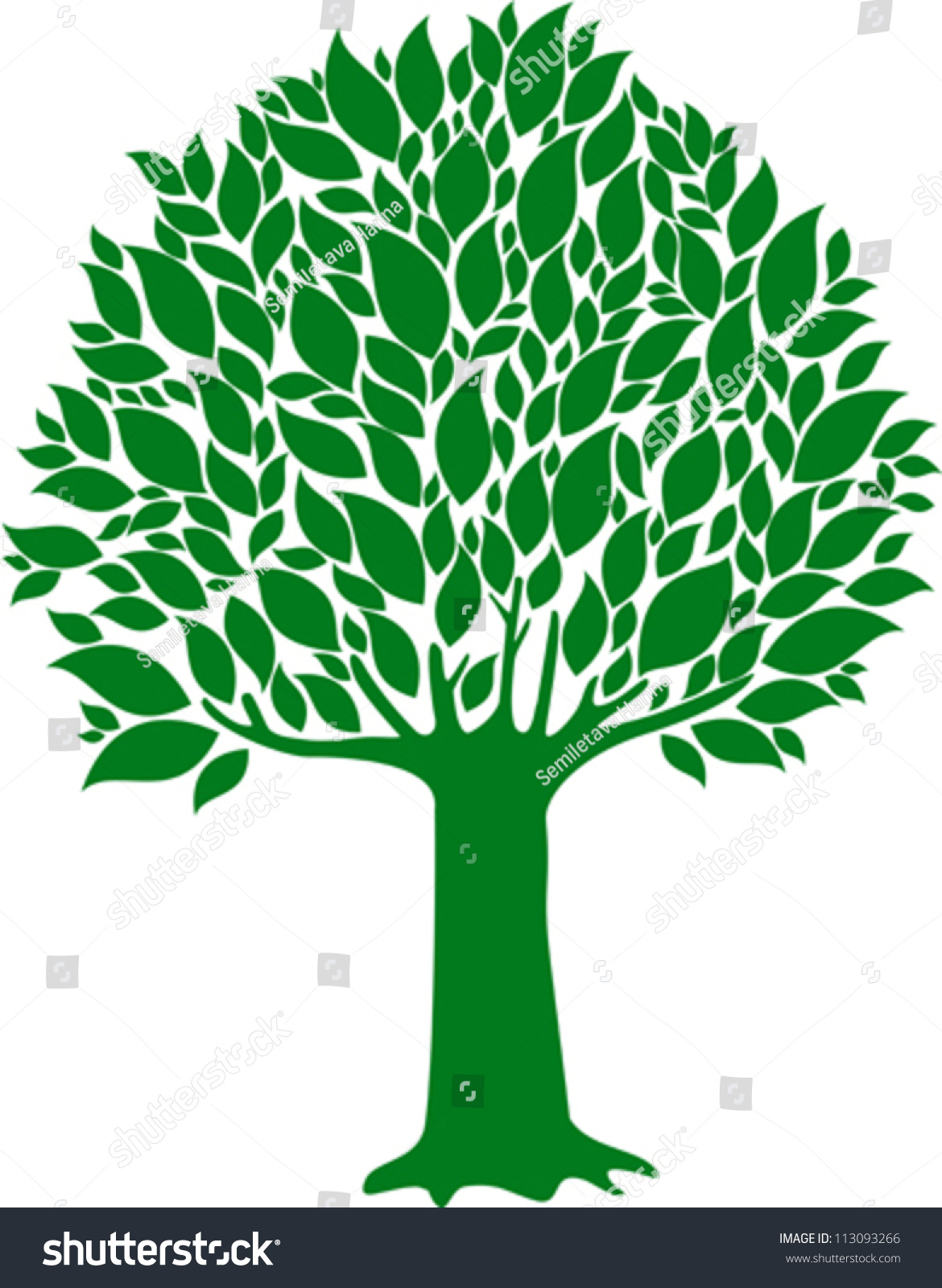 Vector Illustration Tree: Green Tree Isolated On White Background Stock Vector