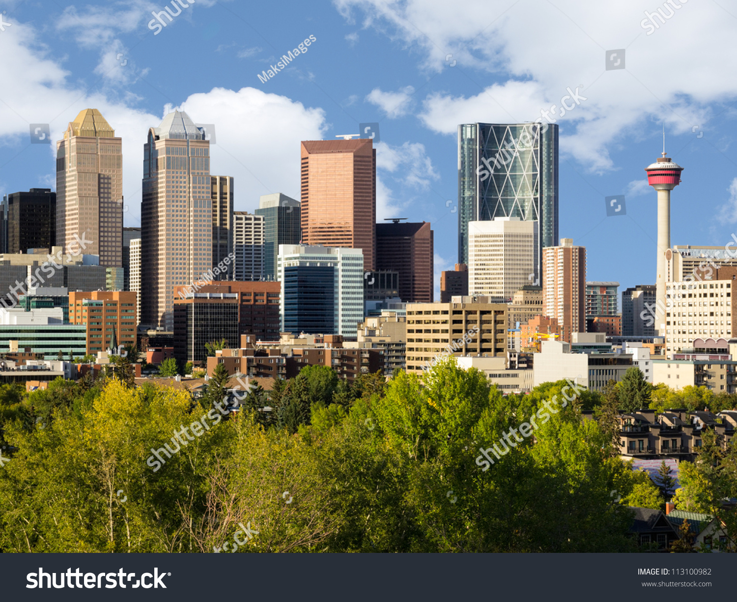 Modern Downtown Skyline Full Skyscrapers Calgary Stock Photo Edit