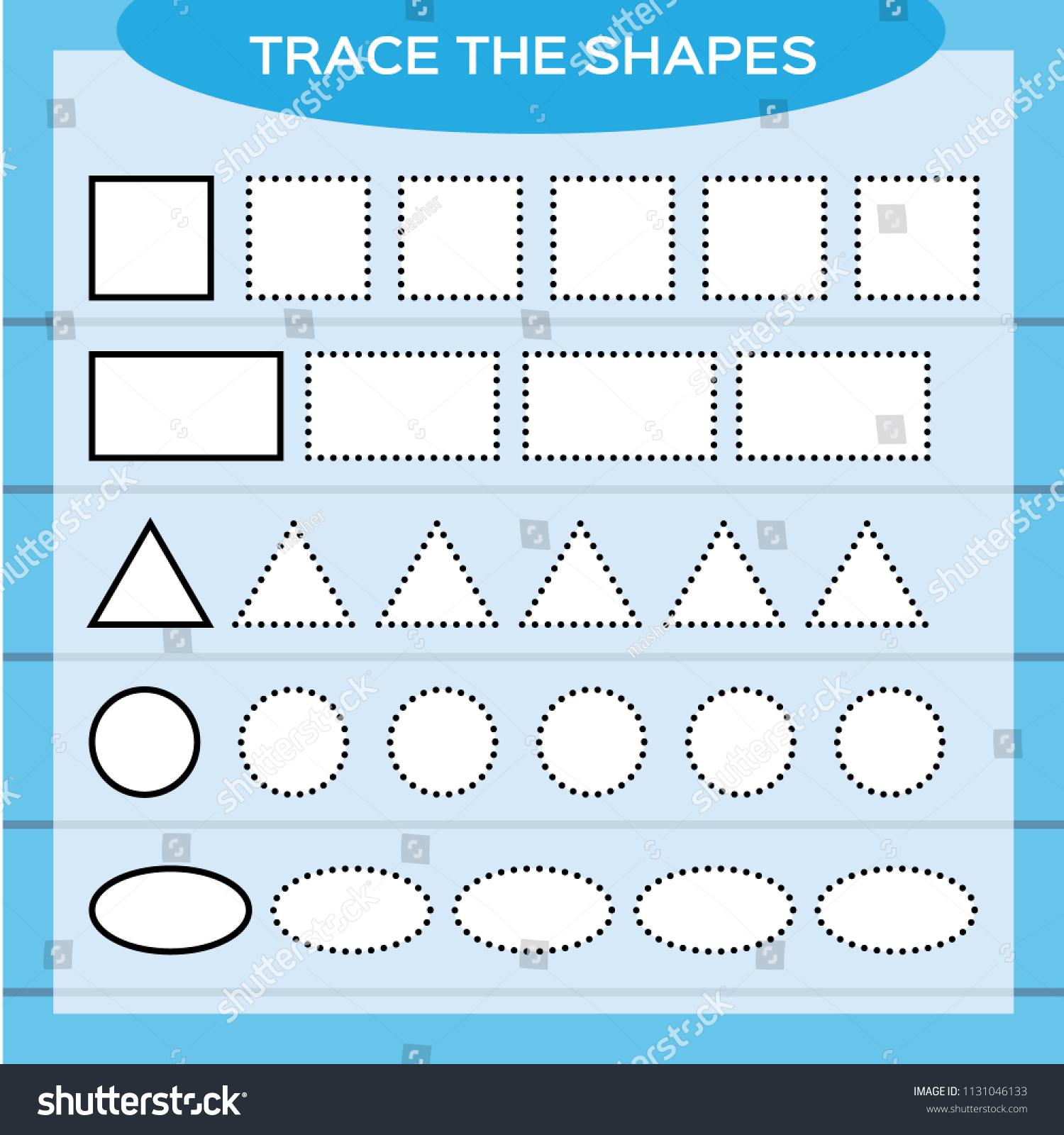 Trace Shapes Kids Education Preschool Worksheet Stock Vector ...