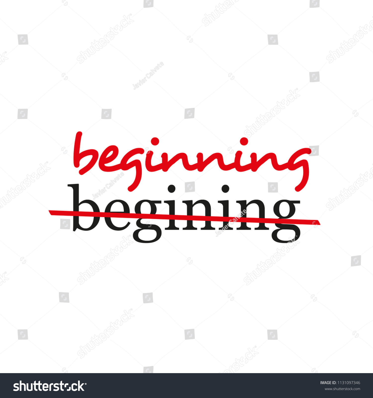 Beginning Text Crossed Out Corrected Most Stock Vector