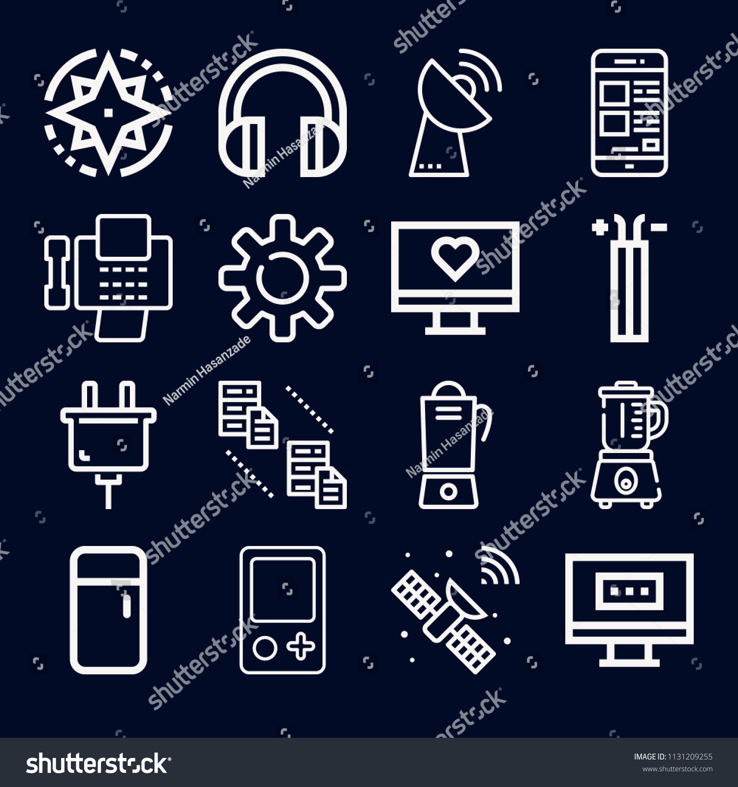 Technology Icon Set Outline Collection 16 Stock Vector Royalty Free Satellite Dish Wiring Of Icons Such As Wire Connector