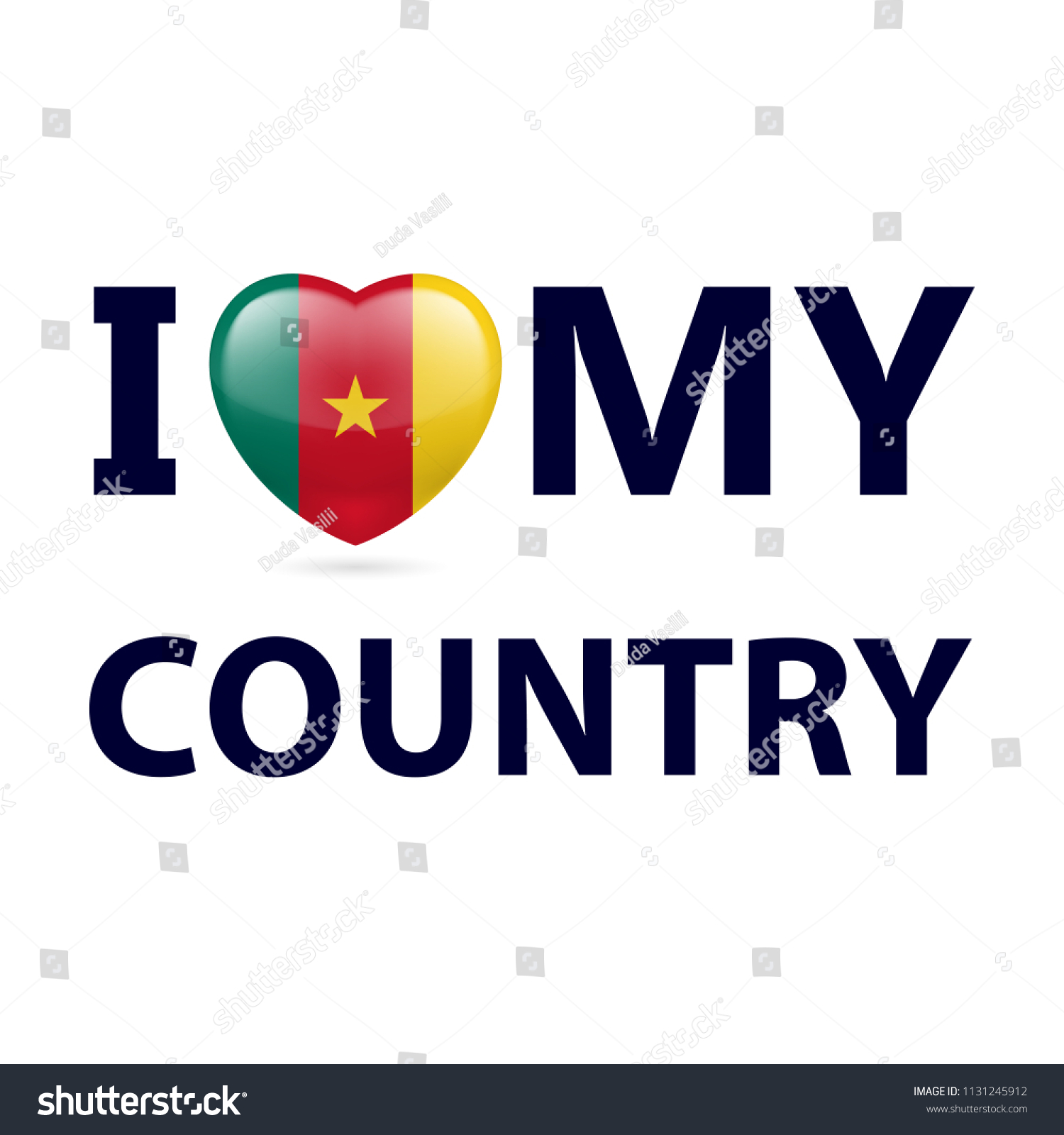 Heart with cameroonian flag colors i love my country cameroon