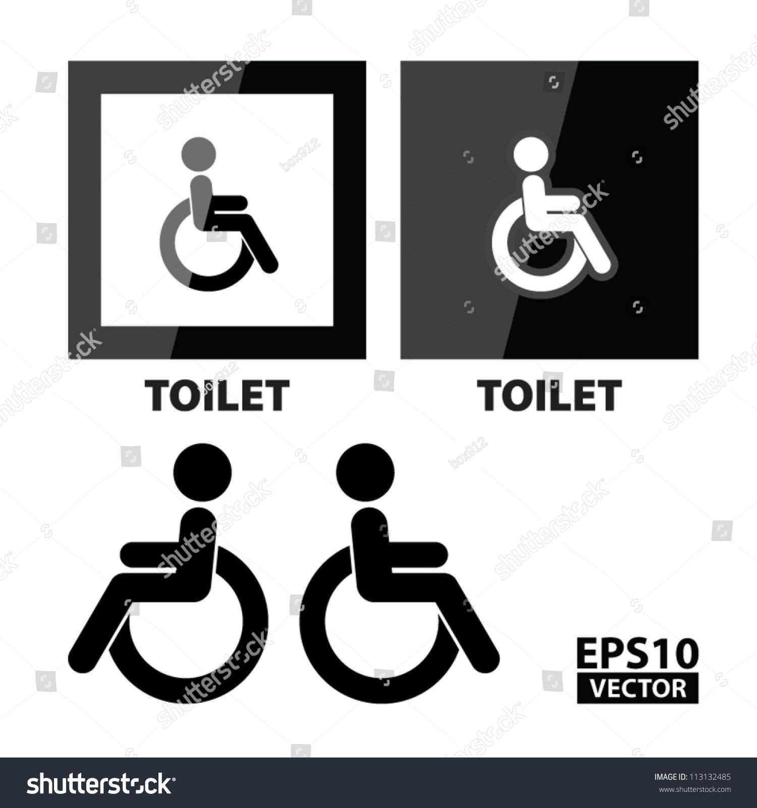 Eps10 Vector Black Square Handicap Toilet Stock 113132485