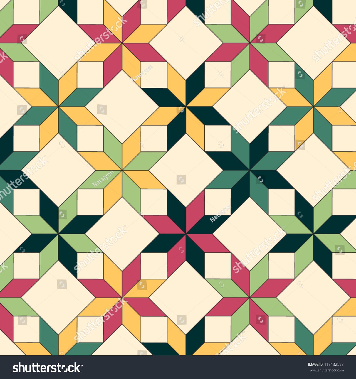 Triangle Quilt Pattern Texture Photos : Quilt Seamless Pattern Vector Stock Vector 113132593 - Shutterstock