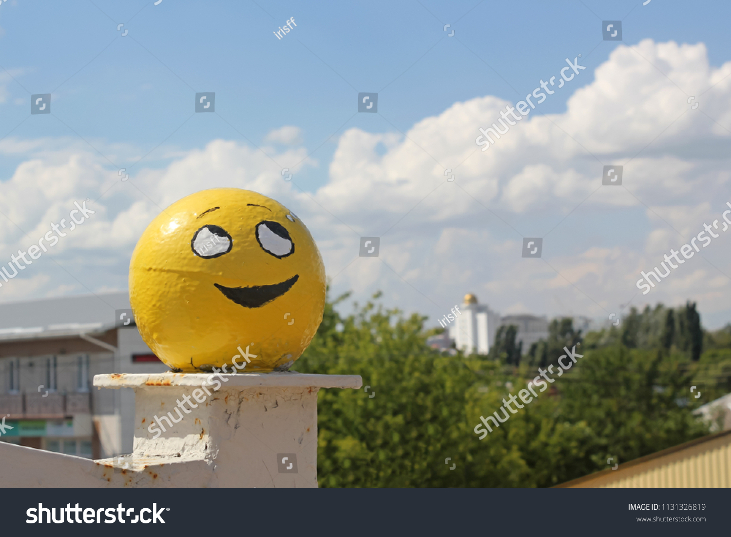 Yellow smiling face, the emotion of grin