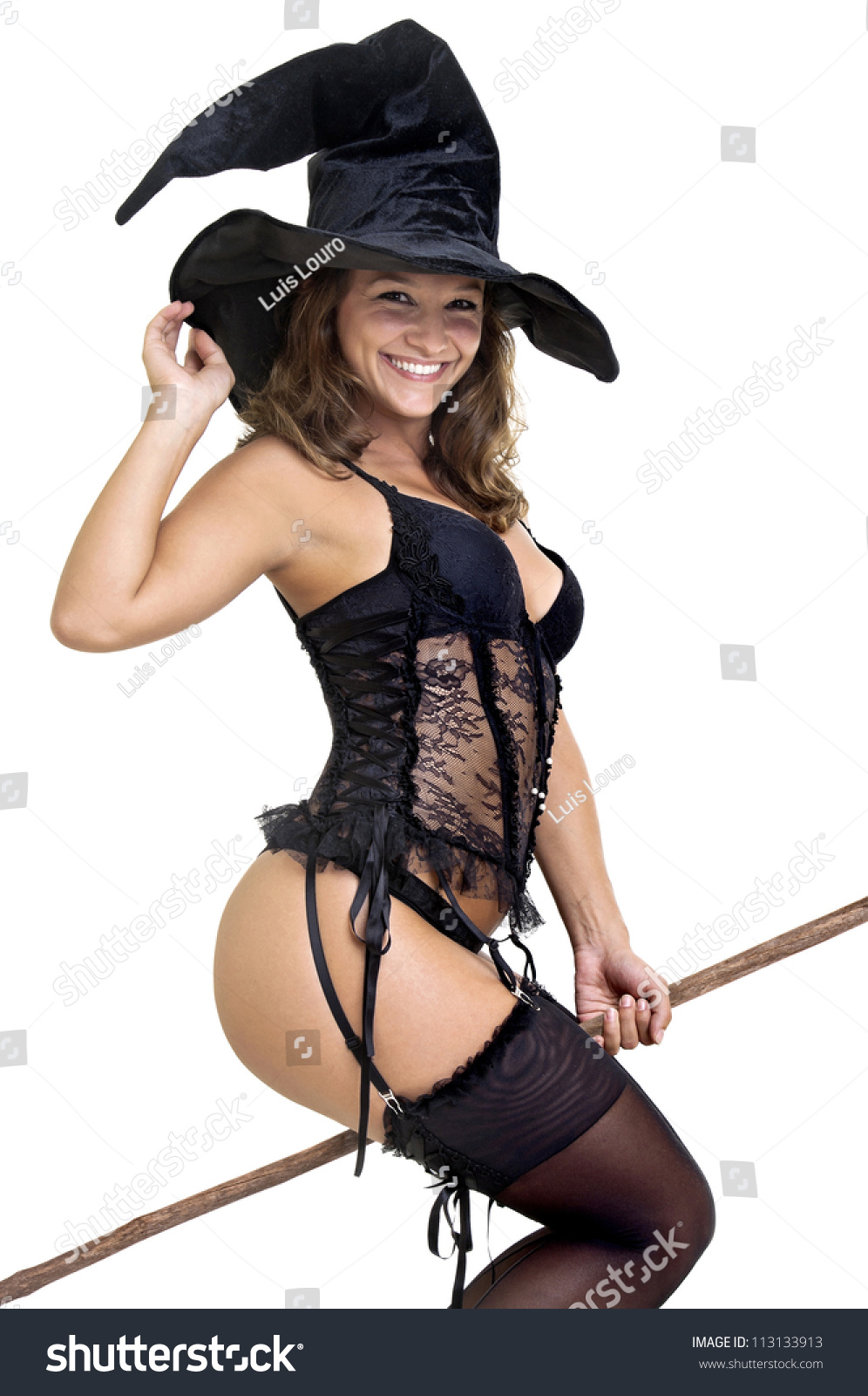 Sexy Girl Witch Costume Isolated White Stock Photo 113133913 ...
