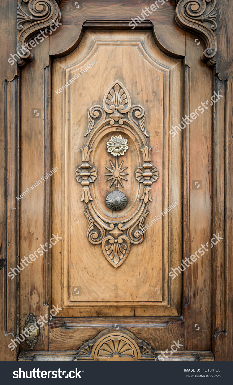 Part Door Adorned By Vintage Ornate Stock Photo 113134138