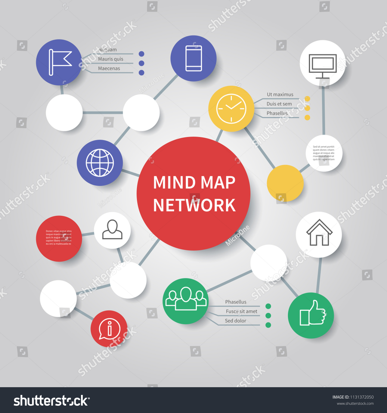 Mind Map Network Diagram Mindfulness Flowchart Stock Vector Royalty Free 1131372050