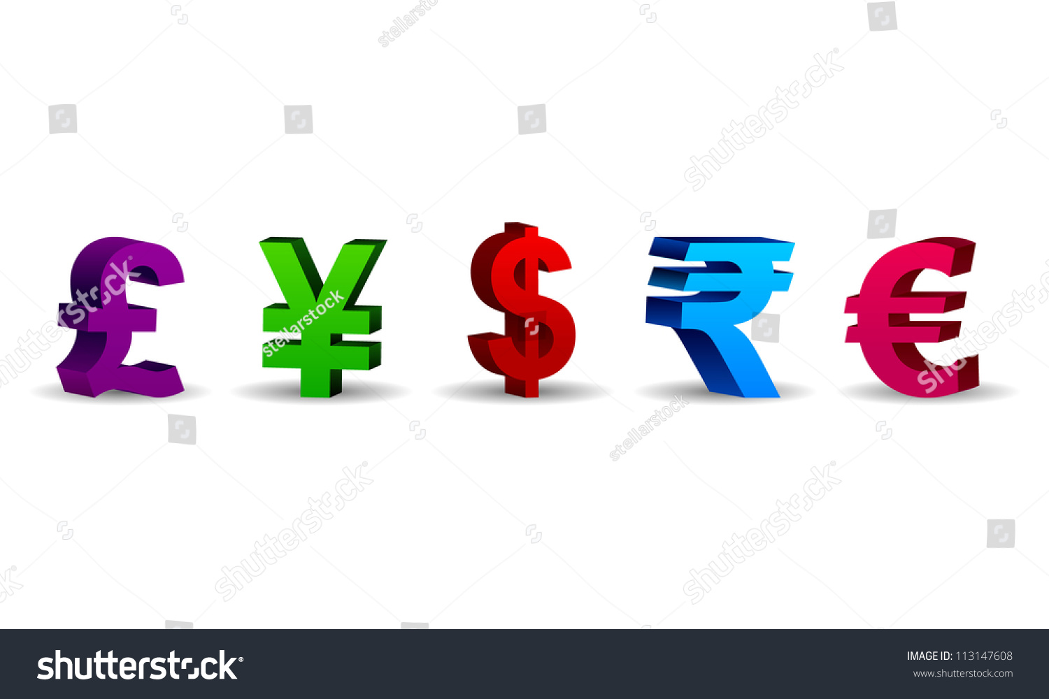 3d currency symbols 3d currency symbols stock vector 113147608 3d currency symbols 3d currency symbols including the pound yen dollar rupee biocorpaavc Choice Image