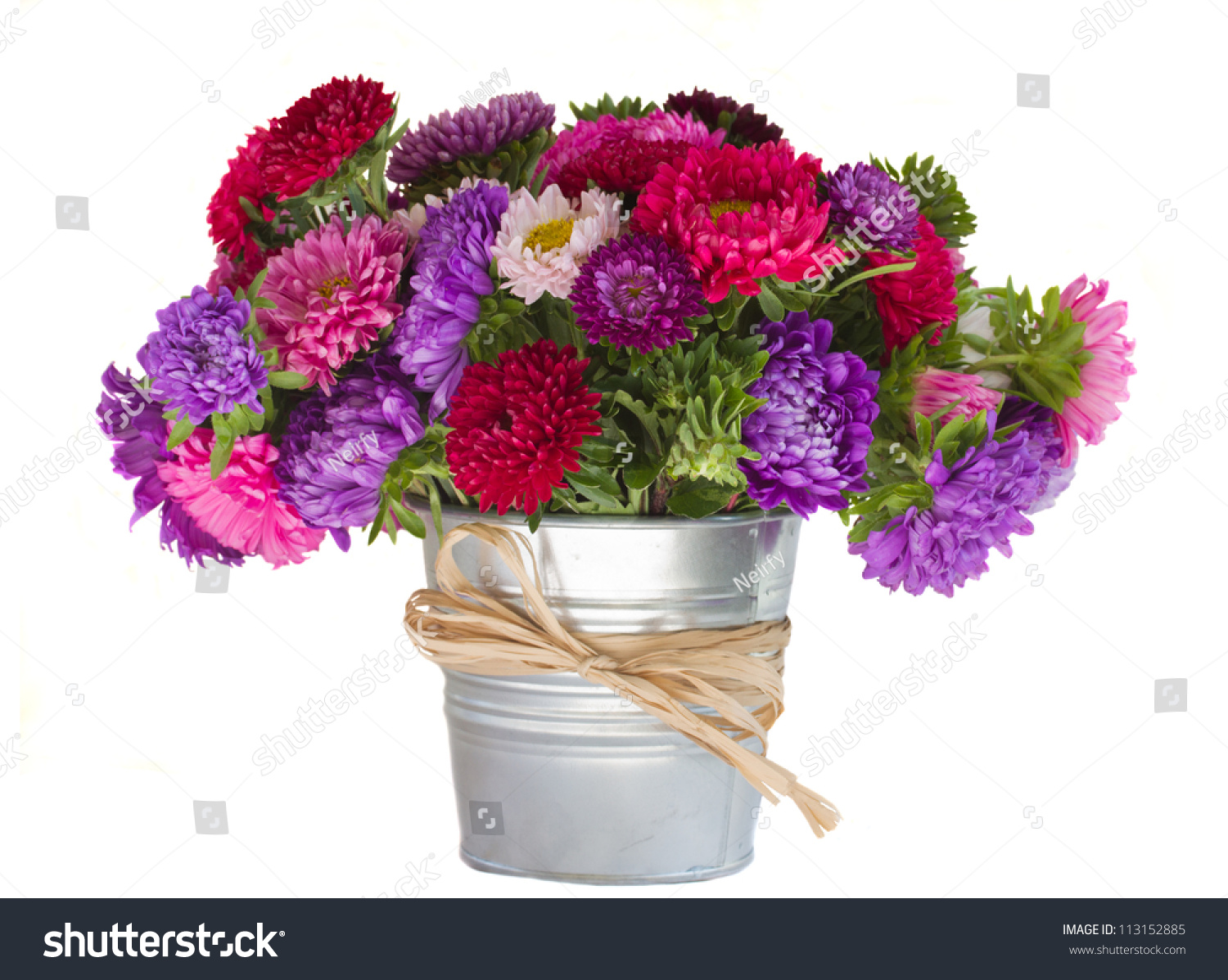 Bouquet Aster Flowers Vase Isolated On Stock Photo Edit Now