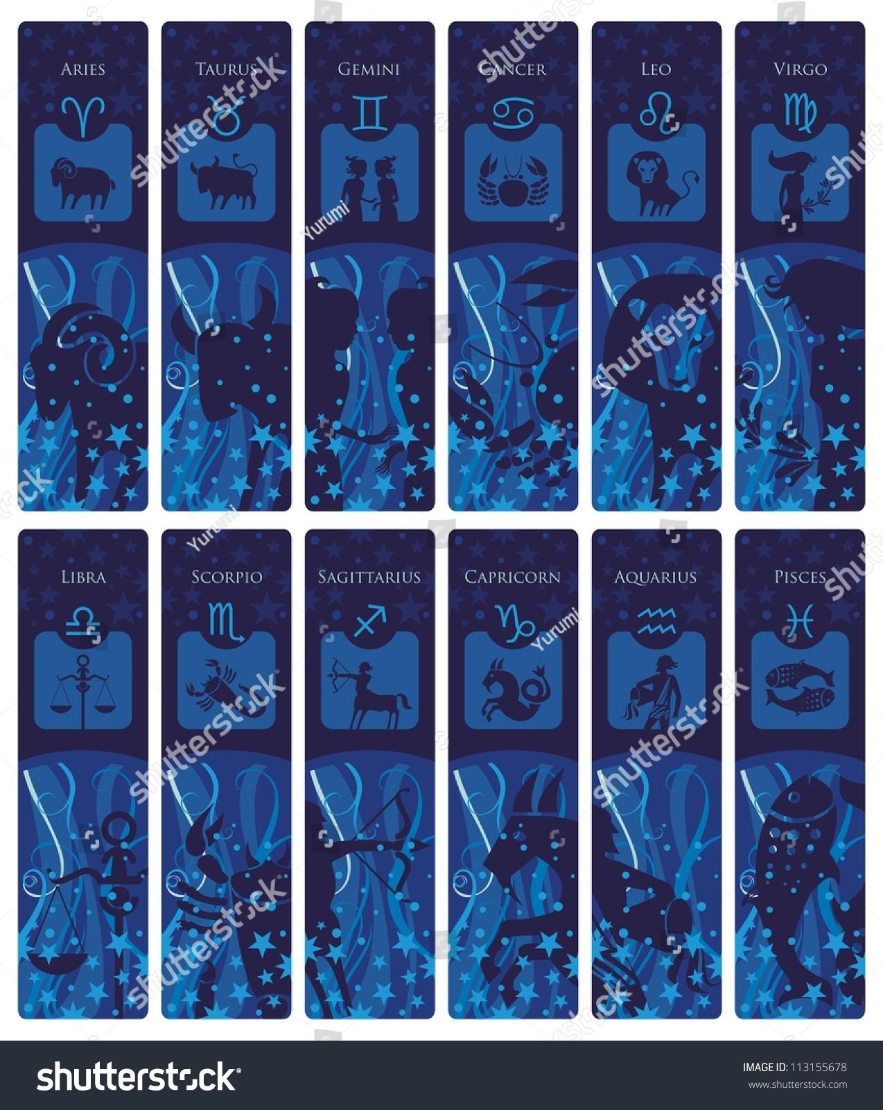 Bookmarks Banners Set European Zodiac Signs Stock Illustration