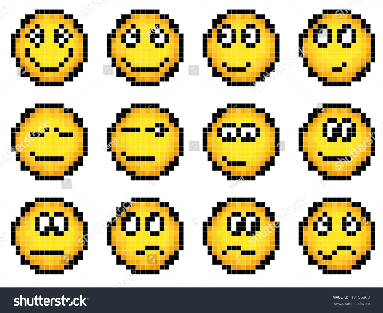 Set Of Vector Simple Yellow Pixel Stock Photo 113156860