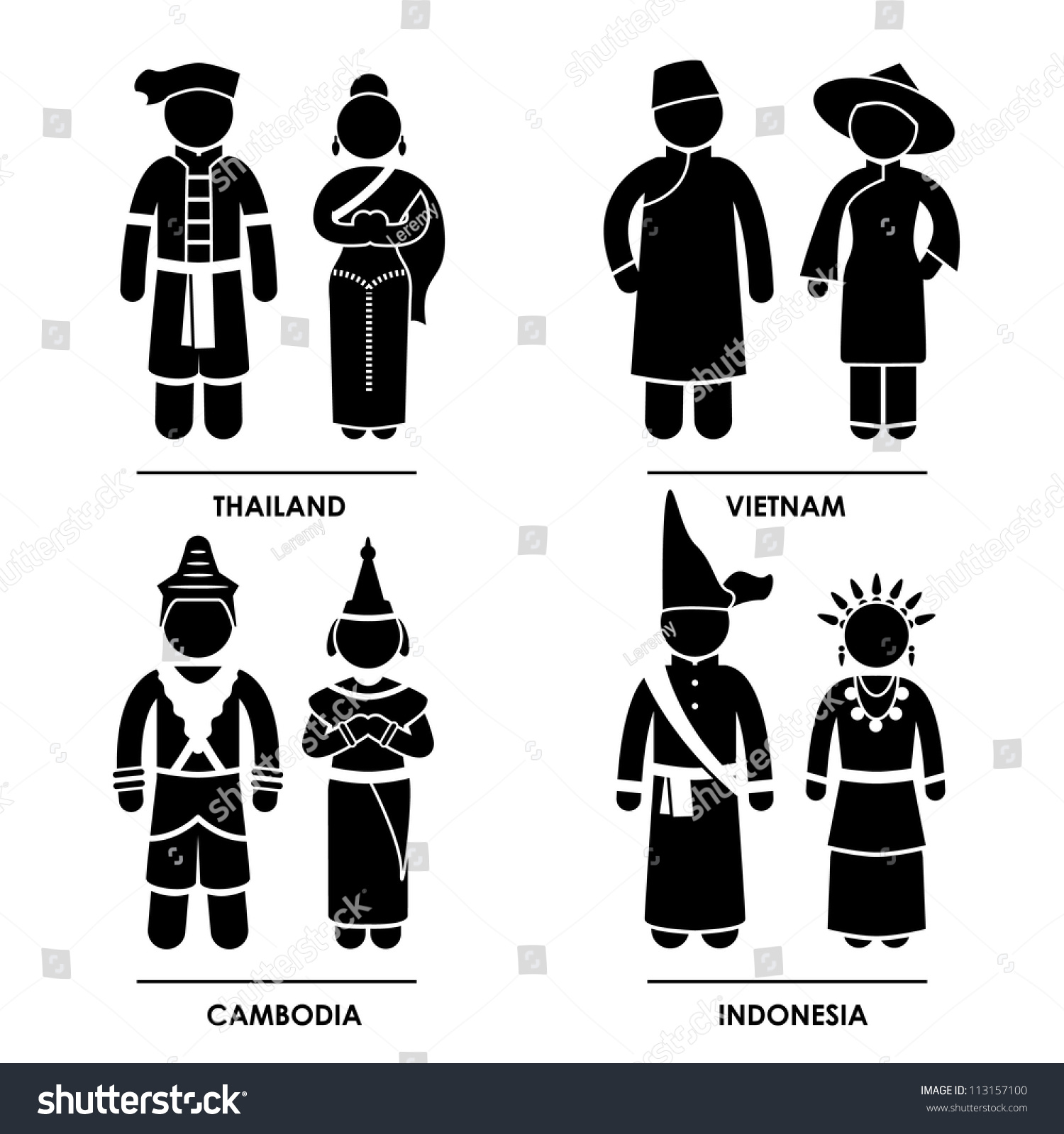 Southeast asia thailand vietnam cambodia indonesia stock vector southeast asia thailand vietnam cambodia indonesia man woman people national traditional costume dress clothing icon biocorpaavc