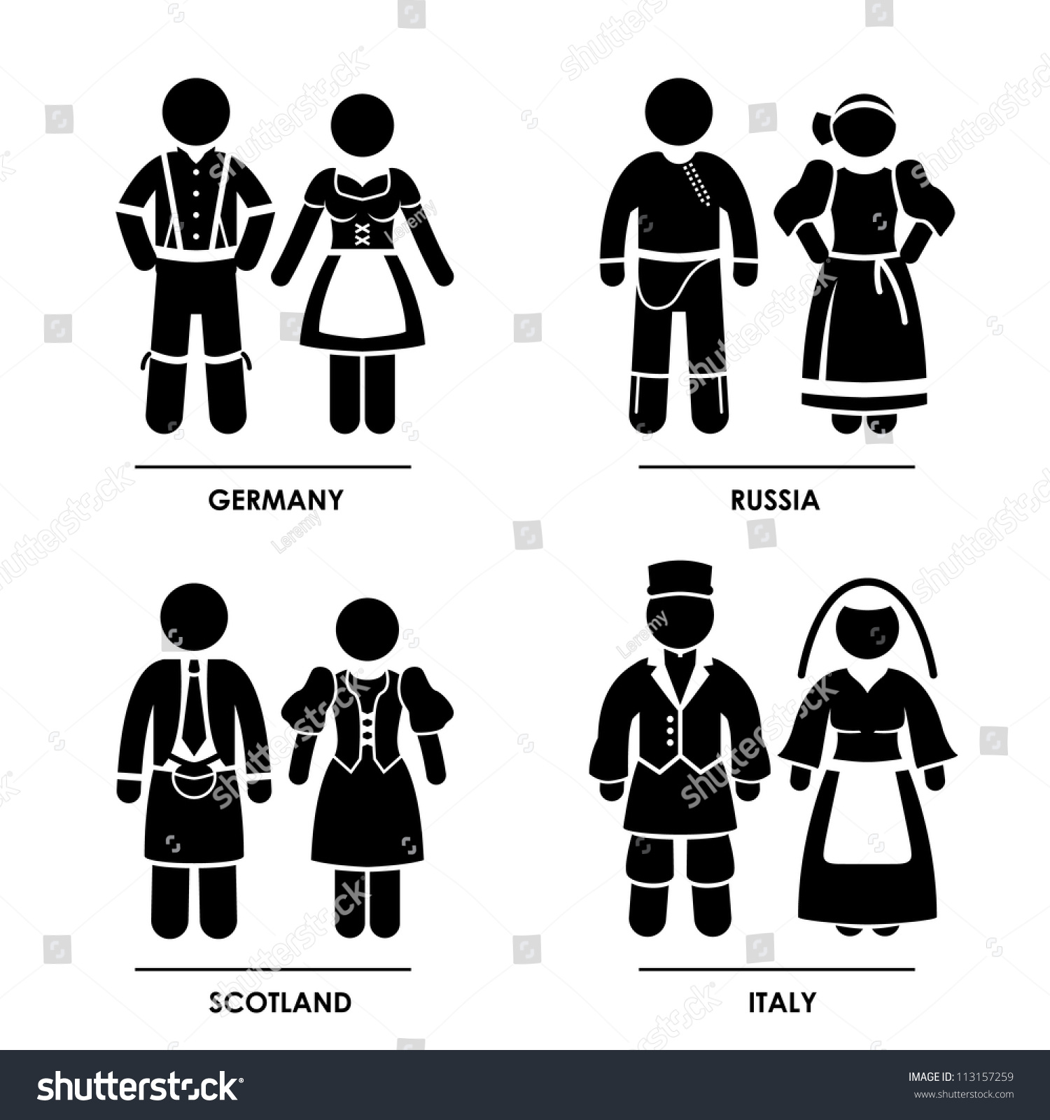 Traditional italian clothing for men and women