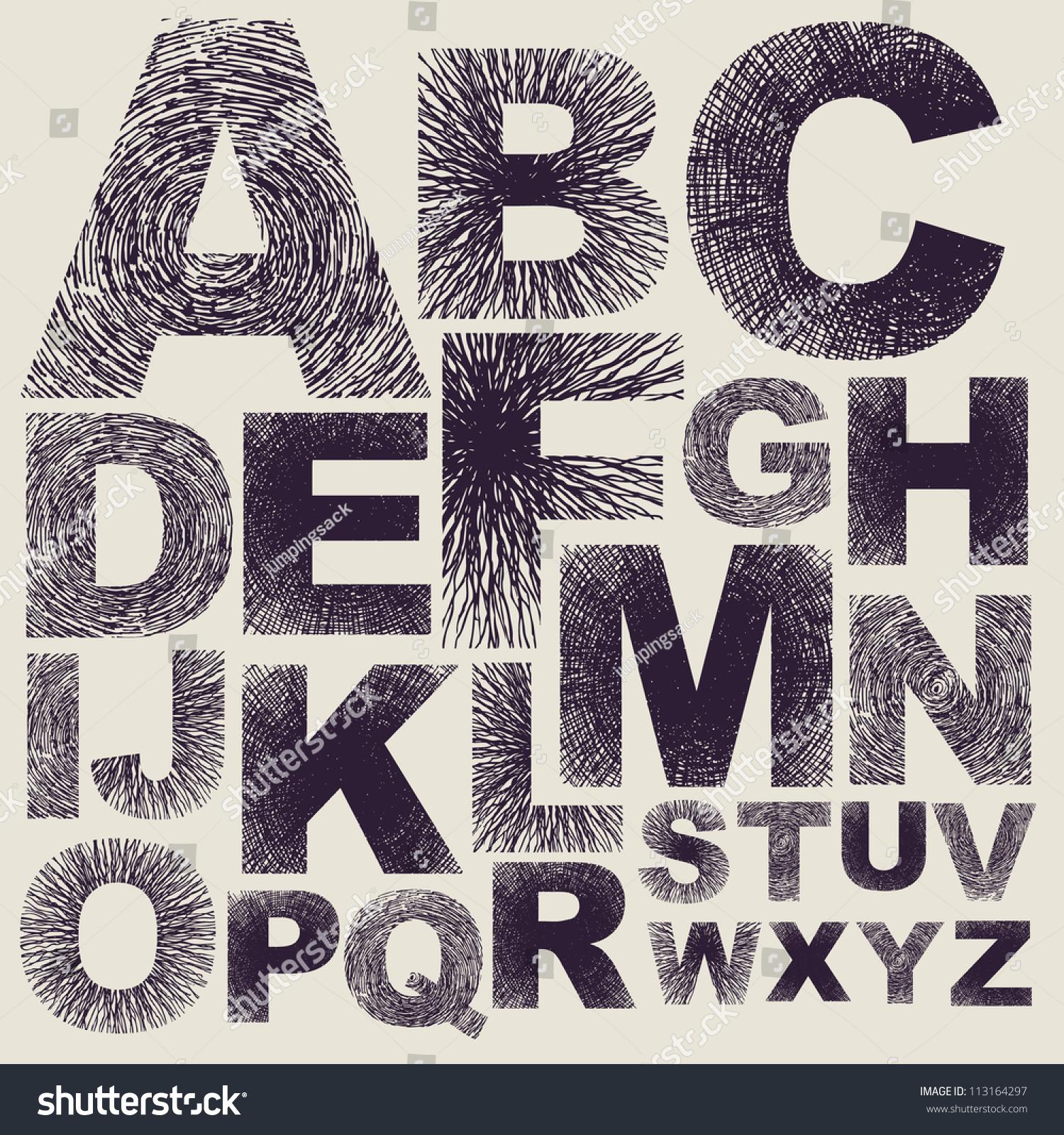 Hand Drawing Alphabet. Vector