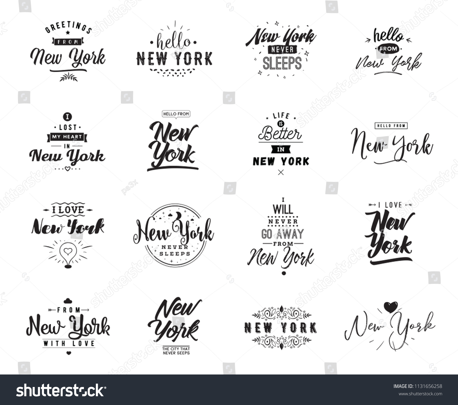 New York Greeting Cards Vector Design Stock Vector 1131656258