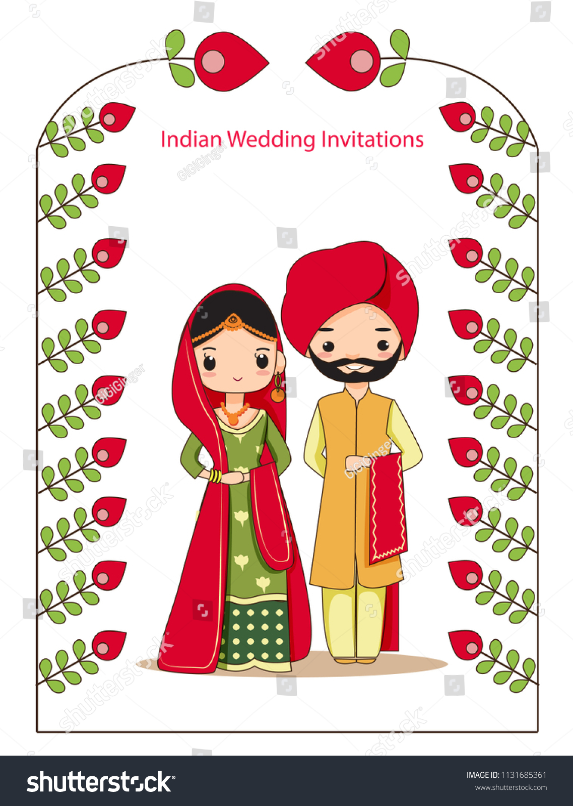 Vector Illustration Cute Wedding Indian Couple Stock Vector (Royalty ...