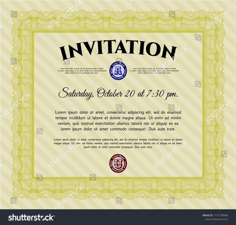 Yellow Formal Invitation Template Artistry Design Stock Vector
