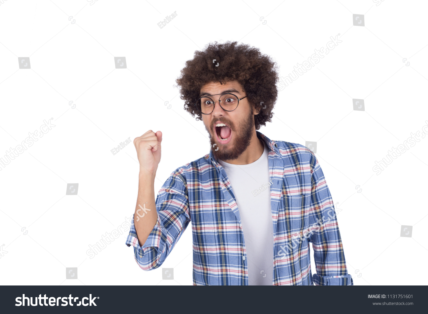 Young Excited Man Fisted Cheering Someone Stock Photo Edit Now