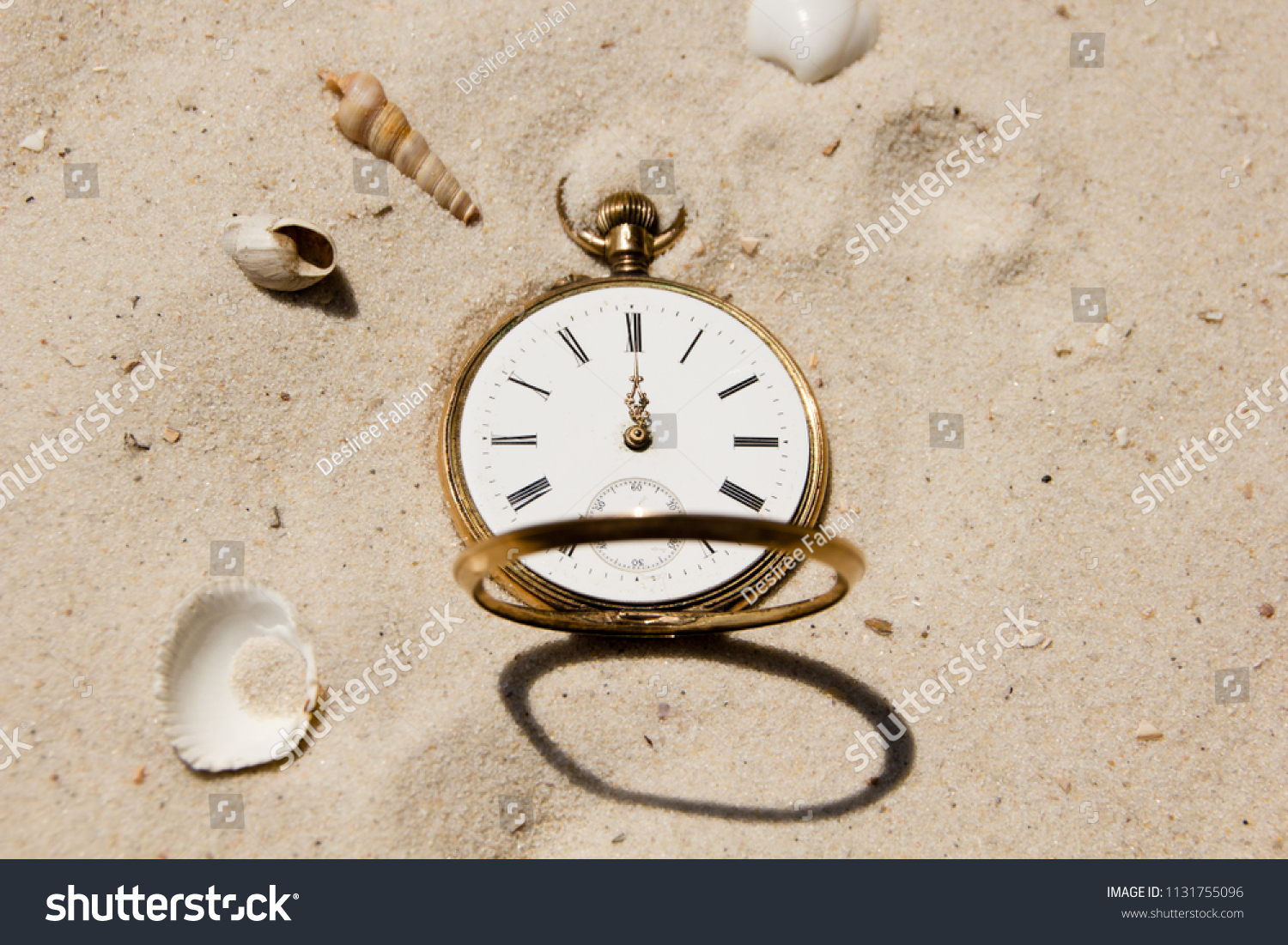 Old Antique Watch Sand Beach Shells Stock Photo (Edit Now