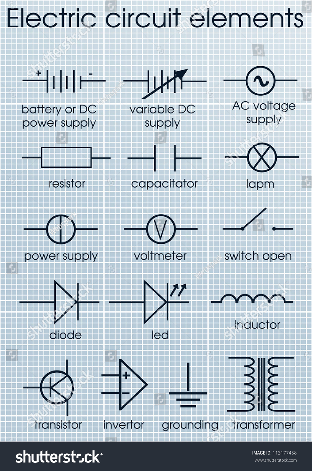 Electric Circuit Symbol Element Set Stock Vector 113177458