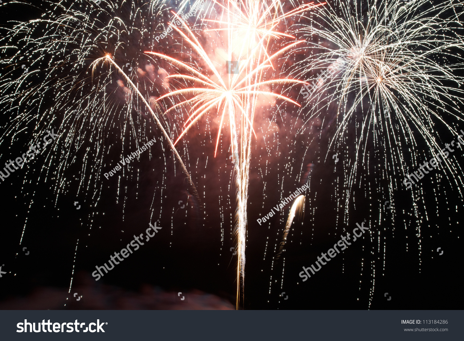 Red Fireworks Free Stock Photo: Red Purple Colorful Holiday Fireworks On Stock Photo