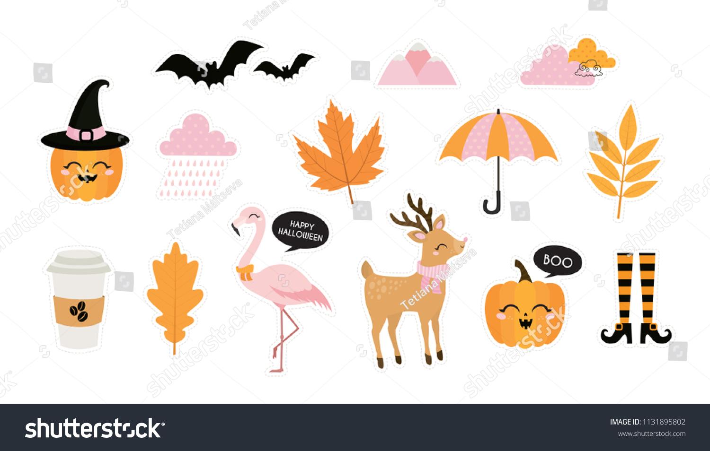 halloween autumn fall cute vector set stock vector (royalty free