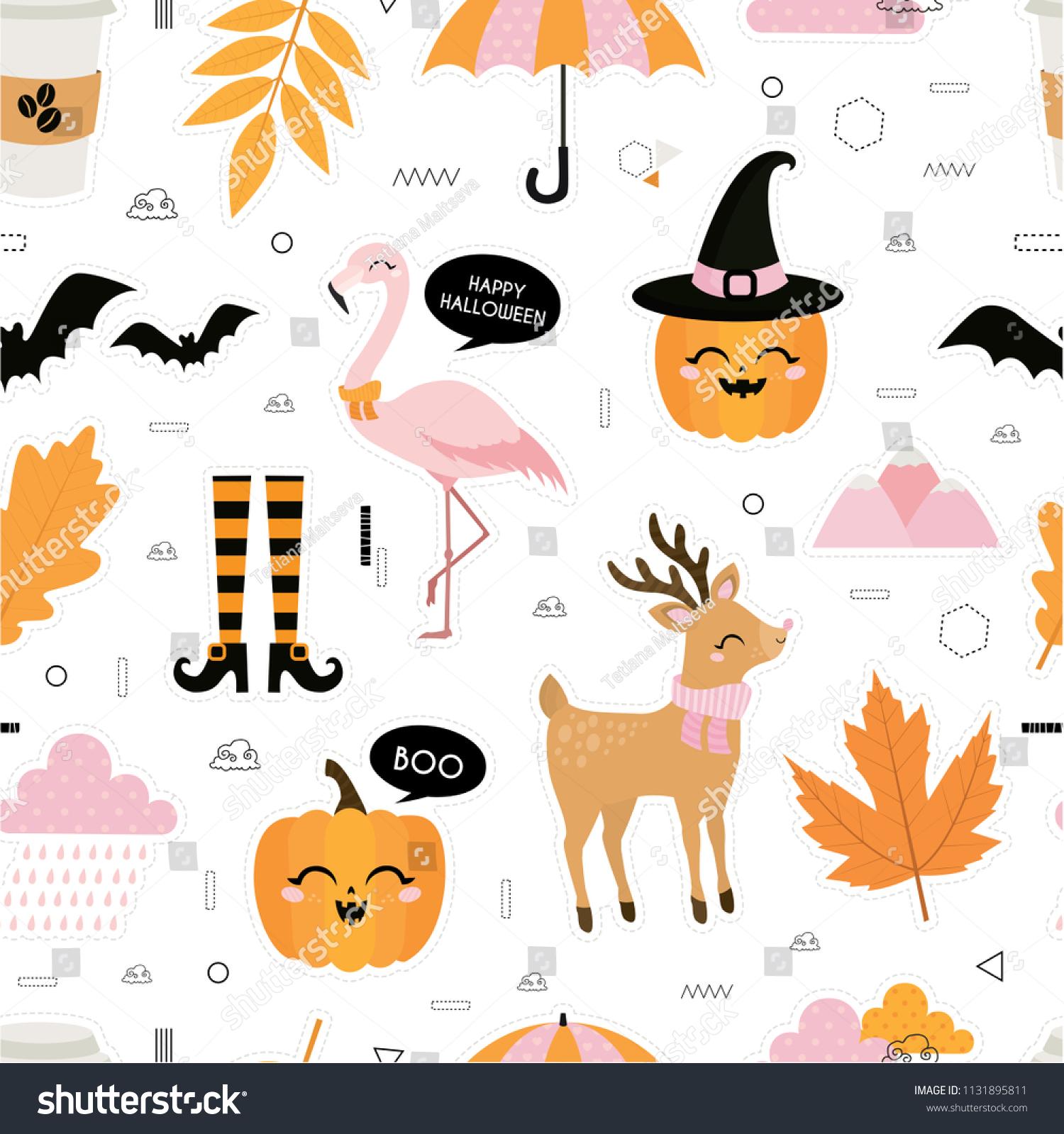 halloween autumn fall cute vector seamless stock vector (royalty