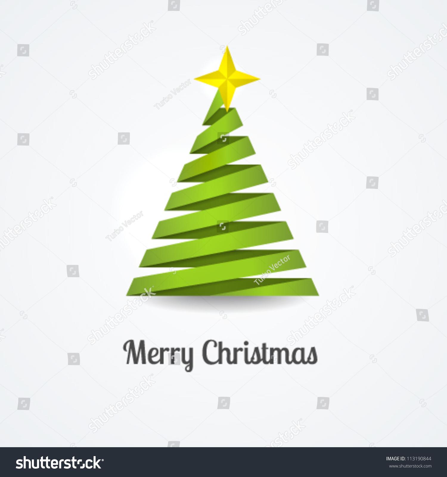 Stylized ribbon christmas tree yellow star stock vector