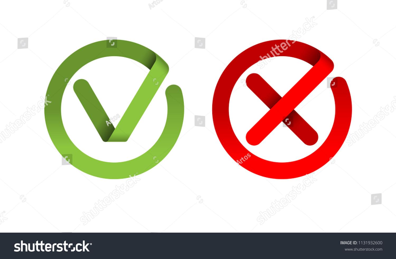Check Mark Cross Mark Icon Symbol Stock Illustration 1131932600