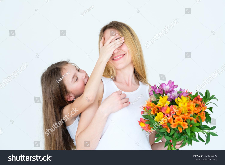 Surprise Flower Gift On Moms Birthday Stock Photo Edit Now