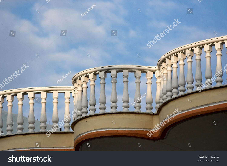 Balcony Over Blue Skyparalia Katerinisgreece Stock Photo