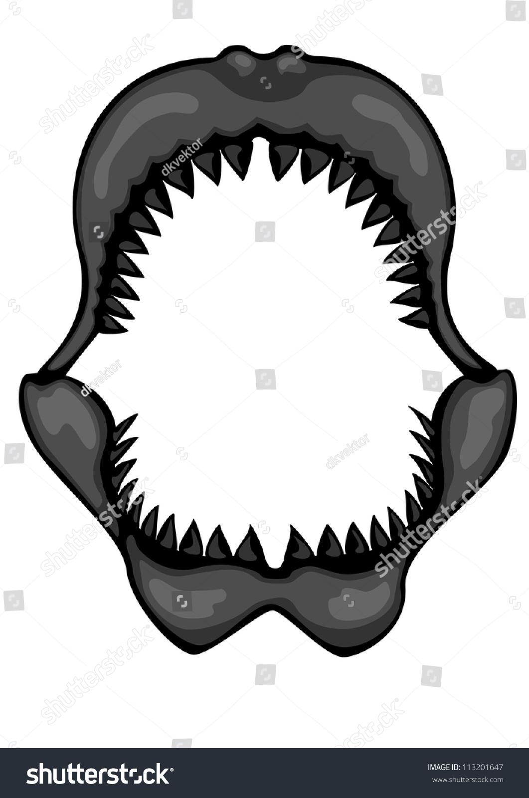 shark jaws megalodon stock vector 113201647 shutterstock