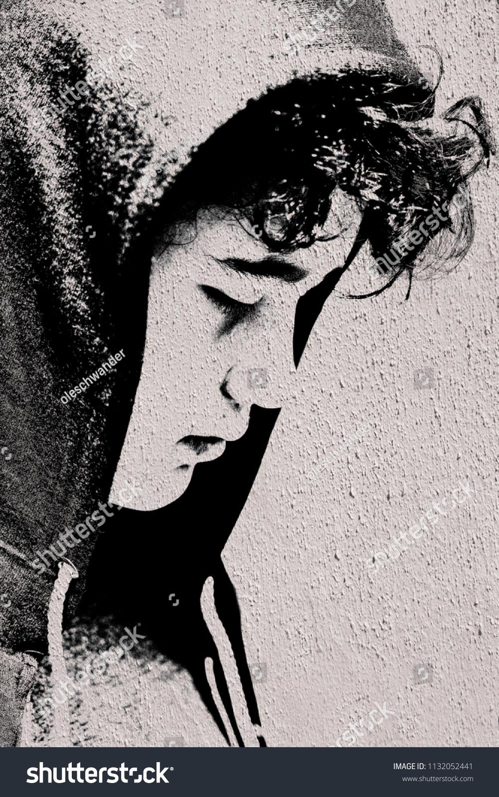 Sad troubled teenager school boy hood stock photo edit now