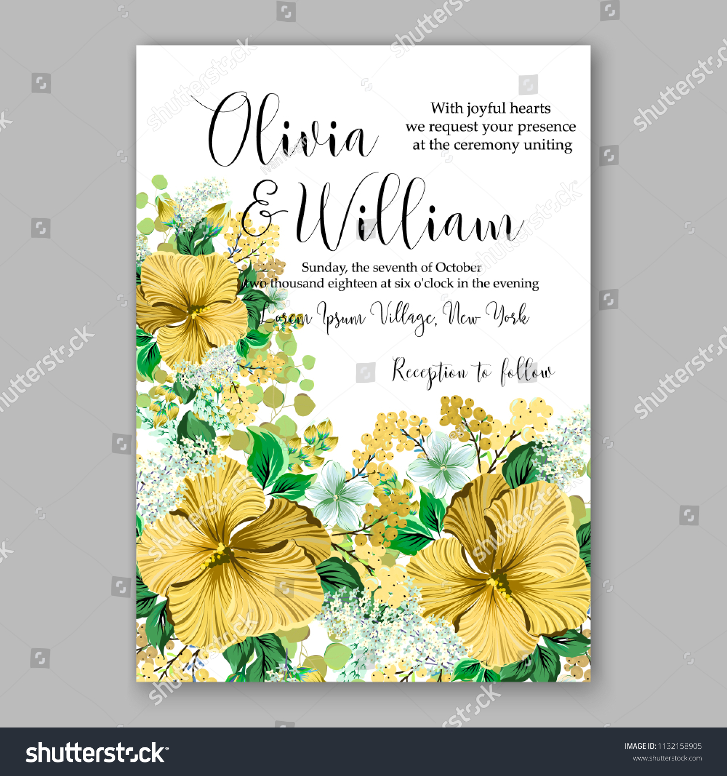 Yellow Hibiscus Tropical Floral Wedding Invitation Stock Vector