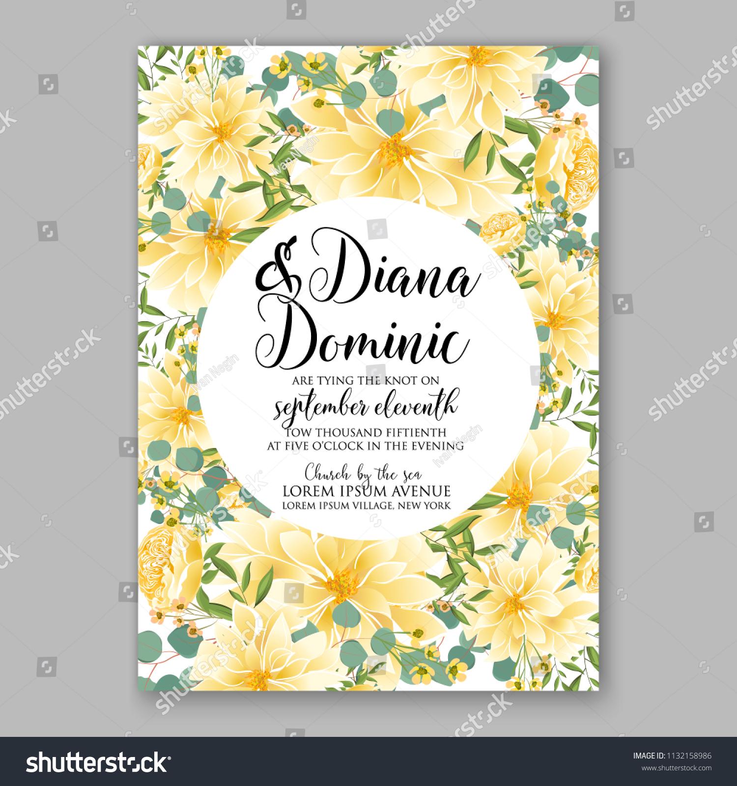 Floral Sunflower Wedding Invitation Greeting Card Stock Vector ...